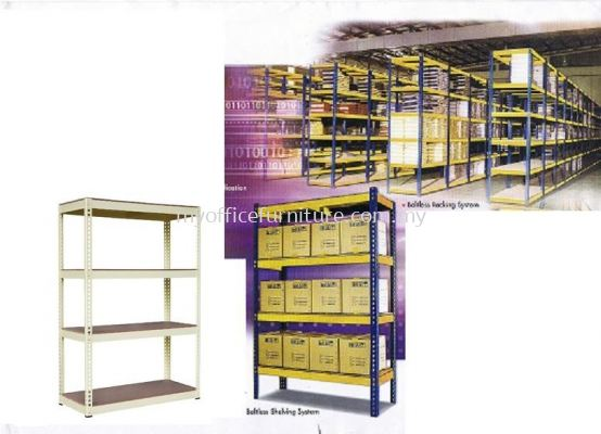 BOLTLESS RACK 2'W x 4'L x 6'H WITH 4 LEVEL FIBREBOARD (RM 279.00/UNIT)
