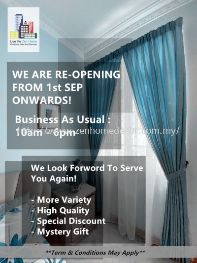 Reopening from 1stSep2021