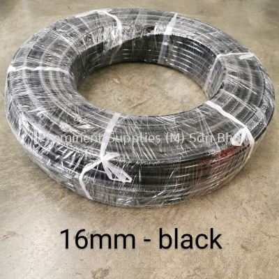 16mm PU Tubing - Black Color | 100 meters per roll | OD 16mm x ID 12mm | Wrapping Type Packing