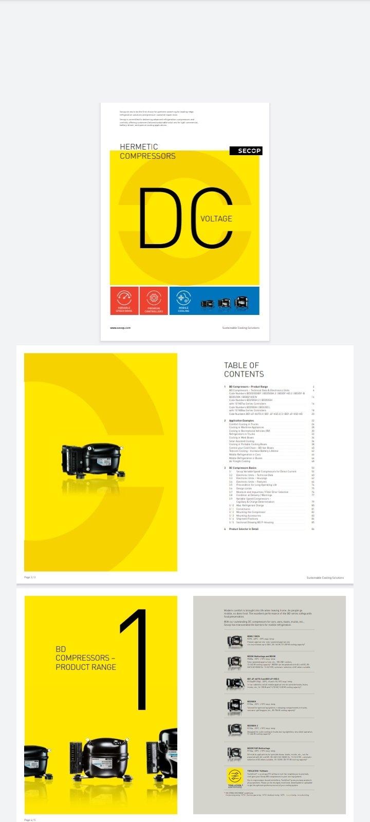 Secop New Catalog on DC Voltage hermetic compressors
