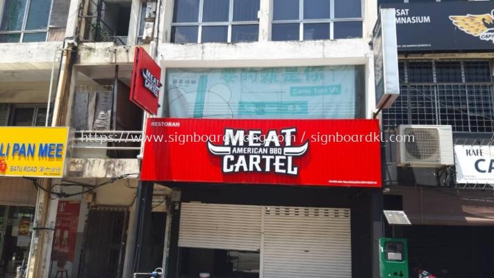 meat cartel restaurant cafe aluminium ceiling trism casing 3d led frontlit lettering logo signage signboard at klang kuala lumpur shah alam puchong kepong subang
