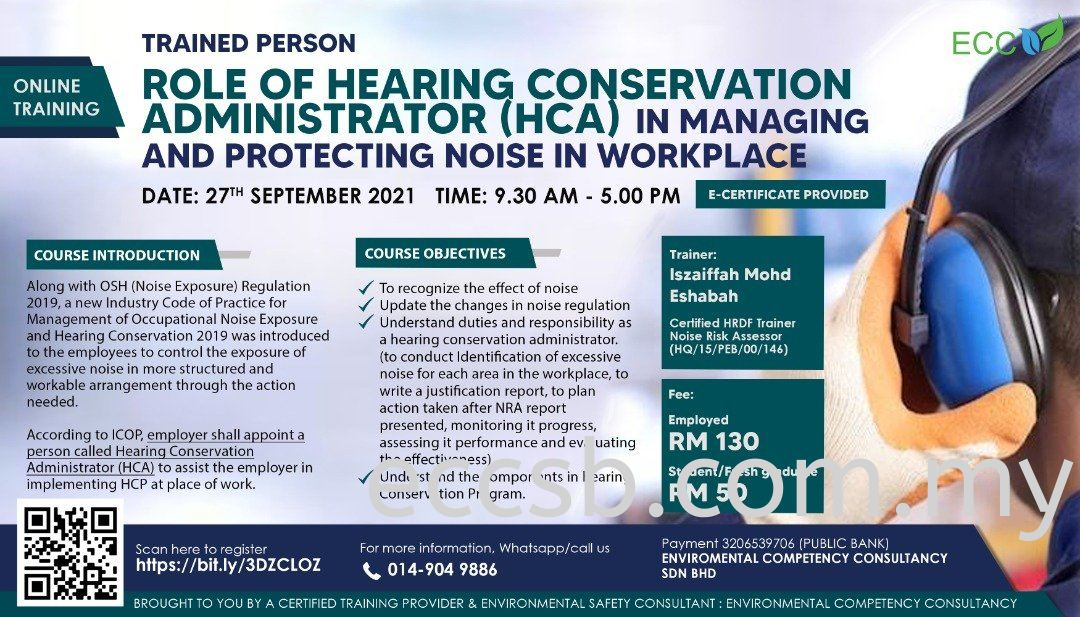 Role of Hearing Conservation Administrator (HCA) in Managing and Protecting Noise in Workplace