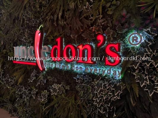 uncle dons restaurant cafe 3d led frontlit backlit lettering logo signage signboard at klang kuala lumpur shah alam puchong kepong subang setapak damansara