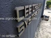 cee cable management company stainless steel silver hairline 3d lettering logo without light outdoor signage signboard at klang kuala lumpur shah alam puchong kepong damansara kajang subang