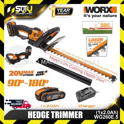 WORX WG260E.5 20V Hedge Trimmer with 1 x Battery 2.0Ah + 1 x Charger