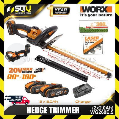 WORX WG260E.5 20V Hedge Trimmer with 2 x Batteries 2.0Ah + 1 x Charger