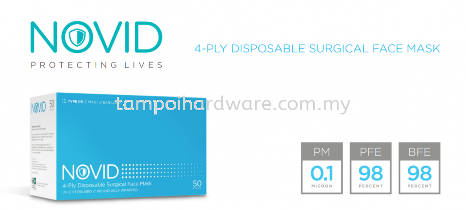 NOVID 4-Ply Disposable Surgical Face Mask Respirators Personal Protective Equipments