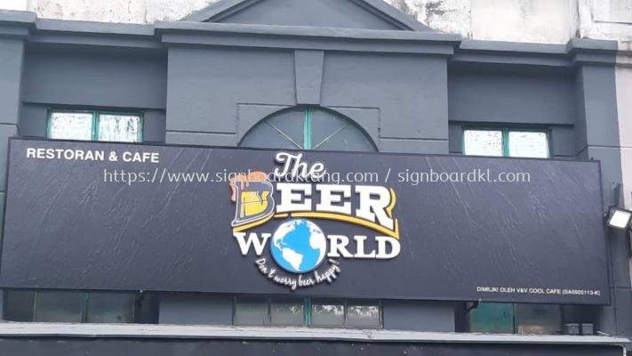 the beer world restaurant cafe pub 3d led frontlit lettering logo signage sigmboard at klang kuala lumpur shah alam puchong kepong damansara sri andalas sri kembangan subang jaya putrajaya petaling