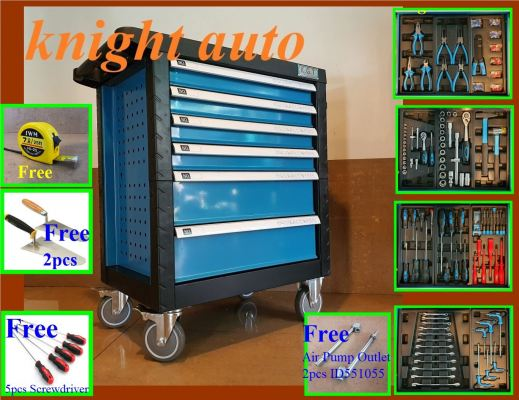 FreeGifts- 6 Drawer Tool Cart With 121+10pcs Tools ID32026