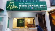 """'Myne Dental"""" LED Frontlit & Backlit Boxup with Strip ceiling Stainless Steel Hairline Box Up"""