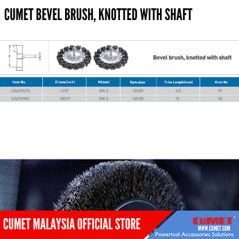 BEVEL BRUSH, KNOTTED WITH SHAFT