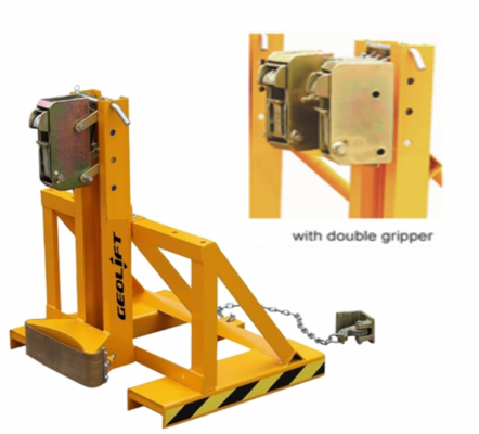 GEOLIFT Heavy Duty Forklift Drum Double Grip - FDG-1 c/w Twin Gripper (with Adjustable Height)