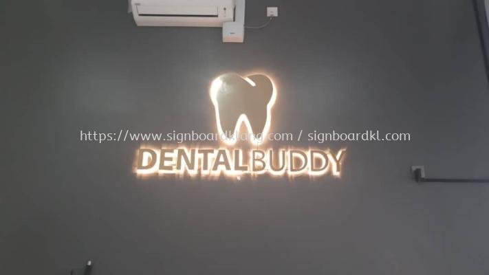 dental buddy clinic indoor 3d led backlit stainless steel gold mirror signage signboard at klang kuala lumpur shah alam puchong kepong subang kota kemuning sunway