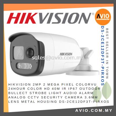 Hikvision 2MP 2 Mega Pixel Colorvu 24 Hour Color 40m IR IP67 Bullet Strobe Light Alarm CCTV Camera D