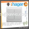Hager SIRIM 2 Gang 1 Way Large Dolly Press Light Switch 10A White 86 Type WXEL121 CABLE / POWER/ ACCESSORIES