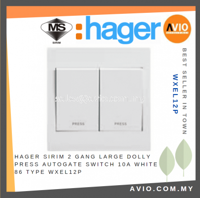 Hager SIRIM 2 Gang Large Dolly Press Autogate Switch 10A White 86 Type WXEL12P
