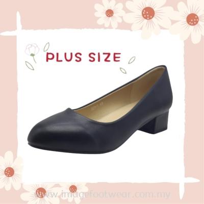 PlusSize Women 1 inch Heel Shoe- PS-221-1- PU/BLACK Colour