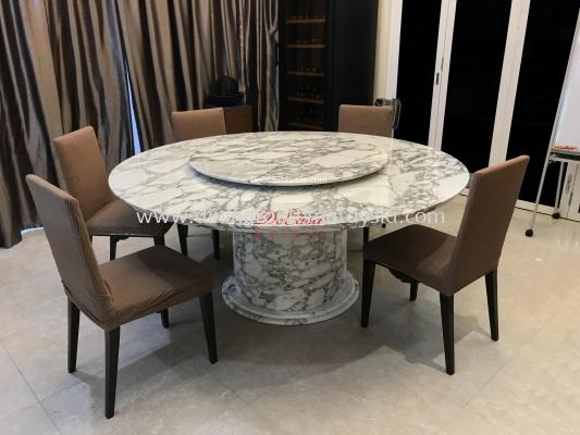 Luxury White Round Marble Table | Arabescato Corchia | 10 seater