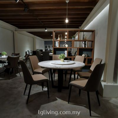 Marble Dining Table with Round Marble Base + Lazy Susan + 6 Dining Chairs (BR3+L11+BTT2+DC1545)