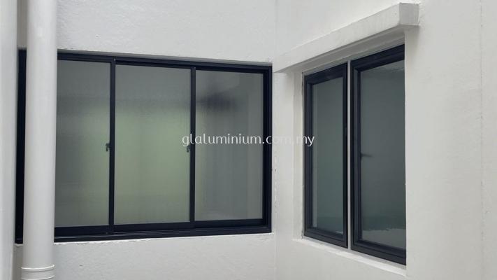 Sliding windows ( powder coated black + naco glass) @Aparment Kristal, jalan Ecohill 1/2,Semenyih, Selangor