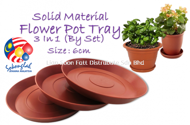 16cm 3In1 (BY SET) Plastic Flower Pot Tray - S900/3 Solid Material