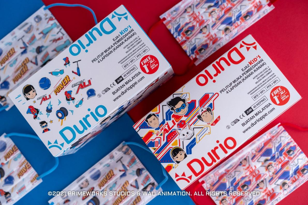 Ejen Ali x Durio kid's 4-ply surgical face masks launching now!