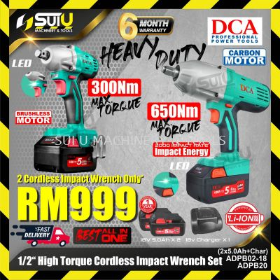 """DCA Combo ADPB02-18 + APPB20 1/2"""" 18V Cordless Impact Wrench Set with 2 x 5.0Ah Batteries + Charger"""