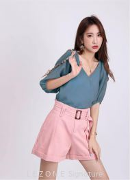 6933bb V-Neck Puff Sleeved Top