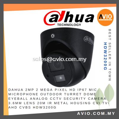 DAHUA 2MP 2 Megapixel HD Mic Microphone IP67 Outdoor Turret Dome Analog CCTV Security Camera 3.6mm 20m IR Metal HDW3200G