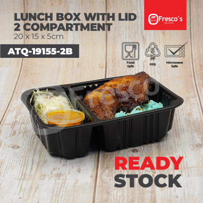 ATQ-19155-2B | 100pcs 2 Compartment Lunch Box with Lid