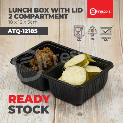 ATQ-12185 | 100pcs 2 Compartment Lunch Box with Lid Plastic