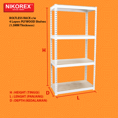 Plywood Shelves (1.5MM Thickness) BOLTLESS RACK c/w 4 Layers