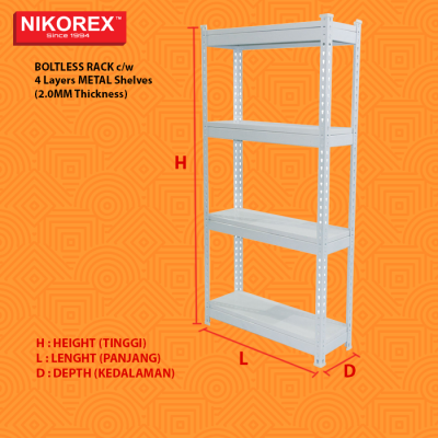 Metal Shelves (2.0MM Thickness) BOLTLESS RACK c/w 4 Layers