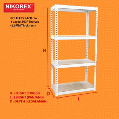 HDF Shelves (2.0MM Thickness) BOLTLESS RACK c/w 4 Layers