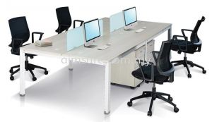 Office workstation with tempered glass panel