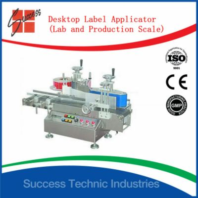 Desktop label applicator (lab and production labelling machine) for round bottle