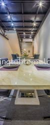 White Marble - Golden Spider Marble Dining Table