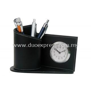 PU Pen Holder With Clock