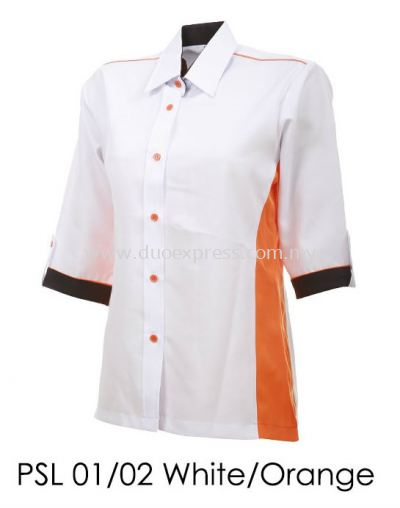PSL 01 02 White Orange Ladies Corporate Shirt