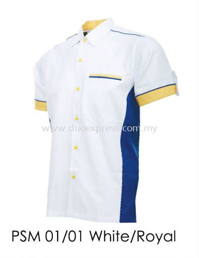PSM 01 01 White Royal Blue Unisex Corporate Shirt