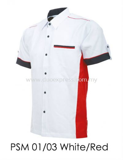 PSM 01 03 White Red Unisex Corporate Shirt