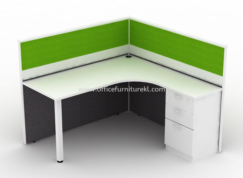 1 CLUSTER L-SHAPE WORKSTATION C/W SOLID PANEL PARTITION, TUBE LEG & FIXED PEDESTAL 2D1F