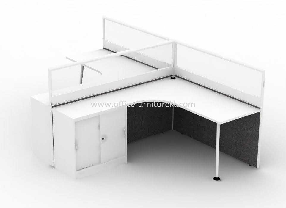 2 CLUSTER L-SHAPE WORKSTATION C/W HALF GLASS PARTITION, MONOTUBE LEG & FIXED SLIDING CABINET