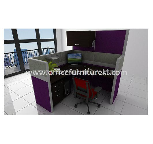 1 CLUSTER L-SHAPE WORKSTATION C/W FULL FABRIC PARTITION, FIXED PEDESTAL 2D1F & HANGING CABINET