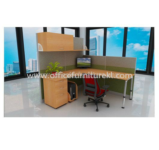 1 CLUSTER L-SHAPE WORKSTATION C/W FULL FABRIC PARTITION, MONOTUBE LEG, FIXED PEDESTAL 2D1F & CPU HOLDER
