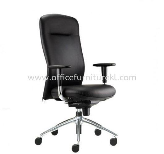 BRYON EXECUTIVE HIGH BACK LEATHER CHAIR C/W ALUMINIUM DIE-CAST BASE BY-1L