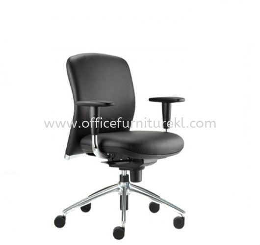 BRYON EXECUTIVE LOW BACK LEATHER CHAIR C/W ALUMINIUM DIE-CAST BASE BY-3L