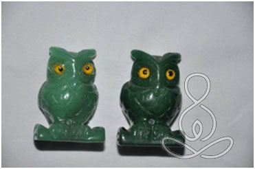 2 JADE OWLS 2'' Green Bird Crystal Healing Stone