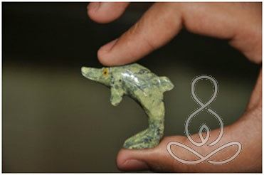 Serpentine Dolphin 1.5'' Green Stone Standing Crystal