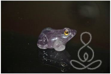 Fluorite Frog 1.5'' Green Purple Stone Carved Reptile
